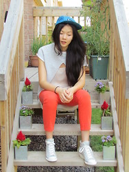 Leah W - Bdg Orange Trousers, Zara Backless Sweatshirt Tee, Zara High Low Chiffon Tank, Supreme Tribal Printed Hat, Converse Grey Wedge - Sporty Spice 2013 Edition