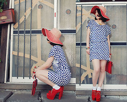 Shan Shan - Gap Hat, Gap Dress - Summer is blue polka dot