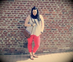 Anais Penelope - Asos Red Skinny, H&M Sailor Top - Bastille Day !