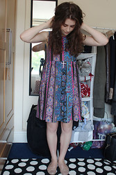 Chloe W - Asos Paisley Print Dress, Primark Cross Necklace, Topshop Ballet Pumps - Grandmas Curtains