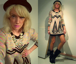 Roxanne Rokii - Rokii Bowler Hat   £8.00, Barry M Bright Pink Lips   £3.50, Rokii Irredescent Necklace   £5.00, Topshop Aztec Print Jumper   Ss13, Rokii Gold Spike Bracelet   £2.00, Rokii Pink Watch Ring   £6.00, Dune Black Leather Gold Chain Boots   Aw12 - 22-06-13 - When Summer doesn't Come