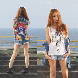 Elle Yamada - Gowigasa Whatever Denim Vest, Wellborn Company Skull Fuck Tee - Double Denim