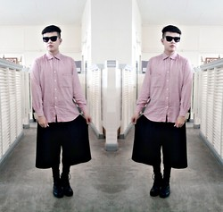 Rei Hontanar - Balenciaga Pink Shirt, Ray Ban Shades, Post Mod Wide Legged Shorts, Sm Socks, Boots - JAPANLENCIAGA