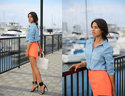 Annabelle Fleur - Nasty Gal Shirt, Cameo The Label Skirt, Gucci, Yves Saint Laurent Bag - Coral Crush