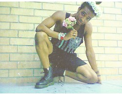 Corey Randle - Pacsun American Flag Tank Top, H&M Black Shorts, Dr. Martens Black Boots - = marriage equality =