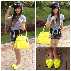 Meliani Chu - Chu Shopp Page Studded Hat, Kate Spade Bag, Neon Skull Shoes., Forever 21 Tank Top - Stylish neon.