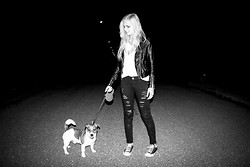 Cathy Gładysz - H&M Jacket, Converse Shoes - Black & white dog
