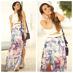 Daniela Ramirez - Furor Moda Crop Top With Slit Detail, Love Marble Print Maxi Skirt, Ted Baker Bag, Shoedazzle Shoes - Marble