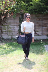 S Z - New Look Crop Top, Longchamp Le Pliage Bag, River Island Tube Pants - I Won't Give Up