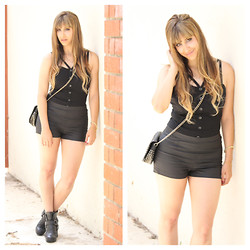 Kayla Barr - Tobi Corset Top, Forever 21 Faux Leather Shorts, Forever 21 Studded Crossbody Bag, Dolce Vita Booties - Summer Nights
