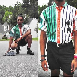 Corey Randle - Thrifted Shirt, H&M Black Shorts, Dr. Martens Black Boots - Thrift shop
