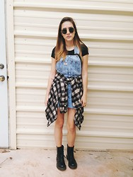 Ella E - Dr. Martens Black, Urban Renewal Dungarees, Brandy Melville Usa Crop Top - Sweet Sour