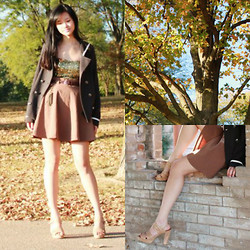 Sandra H. - Wet Seal Glitzy Tube, Mrkt. Nude Platform Sandals, Forever 21 High Waisted Skirt, Forever 21 Nautical Gray Jacket - Golden Rust
