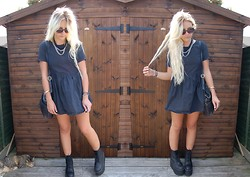 Nicola Boraston - Motel Rocks Denim Babydoll Dress, Nasty Gal X Jeffrey Campbell Riot Boots, Vintage Black Leather Bag, Urban Outfitters Sunglasses - RIOT