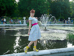 Lilly Pink - Poppy Sweetshop Print Dress, Pink Bow Belt, Bamboo Lace Up Yellow Wedges, Hair Bow!, Lilly And Lovejoy In London - Hyde Park