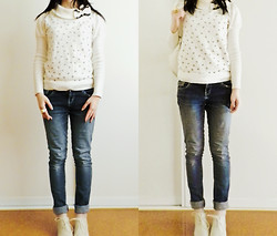 Amy Liu - Equip Rings, Jayjays Jeans, Yesstyle Cream Heeled Oxfords - I follow in the space you travelled