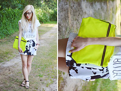 Aneta M - Yeah Bunny Top, Neon Xxl Clutch, Cow Printed Shorts - SKINNY BITCH & COW ( featured Sammydress)