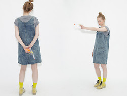 THE WHITEPEPPER - The Whitepepper Denim Pinafore Dress Blue - All for the pinafore
