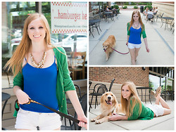 Lea L. - Uptown Cheapskate White Necklace, Blue Tank, White Shorts, Banana Republic Green Cardigan, Kohl's Gold Flats - Green, White, and Blue