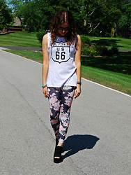 Chloe & Amy - Wildfox Couture Muscle Tee, Urban Outfitters Leggins - Florals pt 2.