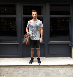 "Guillaume RAUX - Balmain Grey ""Wolf"", Balmain Denim Destroyed, Lanvin Bleu Camo, Louis Vuitton Keepall 50, Rolex Gold - WOLF"