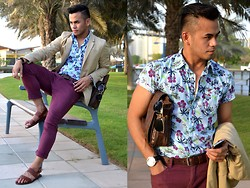 Paul Ramos - Max Fashions Floral Shirt, Retro Splash Red Plum Trousers, H&M Gladiator Sandals, H&M Khaki Blazer, Guess? Classic Wrist Watch, Guess? Murse, Mango Aviator Sunnies, Aldo Bracelet - Floral and Plum
