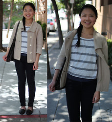 Linda Q. - J. Jill Jacket, Lancome Tote Bag, Forever 21 Top, Forever 21 Necklace, Gap Legging Jean, Penny Loves Kenny Flats - BUSINESS CASUAL
