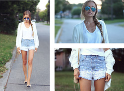 Sonya Esman - Runway Bandits Sequin Denim Shorts, Wilfred White T Shirt, Chanel Classic Flats, Rebecca Minkoff 5 Zip Nude, Ray Ban Reflective Aviators, Runway Bandits White Cardigan - SNOWFLAKES IN JULY.