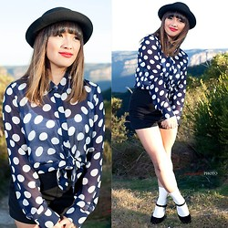 Ethel Manalo - Tempt Bowler Hat, Chicabooti Polka Dot - Black and Navy