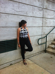 Adrienne G - Buffalo Exchange Black And White Patterned Crop Top, Bdg Black High Waist Seam Jean, Bucco Black Sandals, Diy Mixed Chains Necklace - Black and White