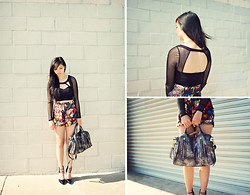 Tania H - Motel Rocks Ethel Shorts, Nasty Gal Naomi Crop Top, Botkier Aldyn Satchel - Wallflower