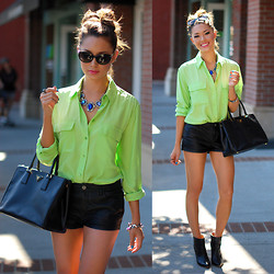 Jessica R. - Equipment Jade Lime Signature Blouse, Statement Baubles Sapphire Gem Necklace, Burberry Black Sunglasses, Prada Saffiano Lux, Black Wedge Booties - Lemon Lime