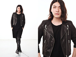 Philip Mak - H&M Cropped Biker Jacket, H&M Sleeveless Top, H&M Shorts, Helmut Lang Leather Leggings, Hare Boots - Dark Fusion