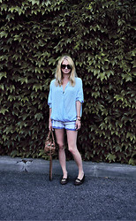 Julianna Ivicic - Zara Wrap Top, New Yorker Jeans Shorts, River Island Leopard Loafers, Zara Bag - Wrap top