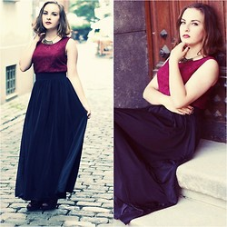 Marta O - New Yorker Black Maxi Skirt, Vintage Burgundy Top(Dress) - Wake me up when September ends
