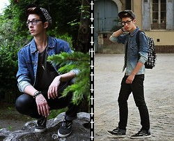 Gaëtan Martinho - Pics Cap, Topman Stonewashed Denim Jacket, H&M Imitation Leather Pant, Forever 21 Necklace, H&M T Shirt Which Piece Of Leather ( Handmade ), Topman Bag Whith Cross - Small cross in the city