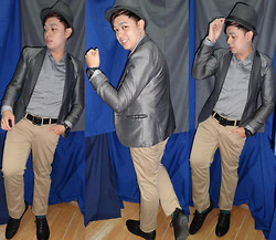 Lee Uno Ong - Celio Anthracite Fedora Hat, Markus Metallic Gray Suit, Celio Gris Polka Dots Shirt, Diesel 5bar Metallic Watch, Beverly Hills Polo Club Black Leather Belt, Celio Beige Slimfit Slacks, Uniqlo Green Formal Socks, Ruzty Lopez Black Dress Shoes - Bullet Proof Metallic Heart ♥