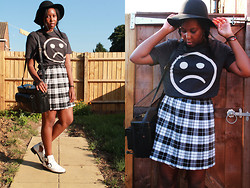 Mwandu S - H&M Hat, Topman Crystal Castles T Shirt, Leeds Market Pleated Plaid Skirt, My Dad Camera Bag, River Island White Cut Out Boots - 'til it turns from Colour to Black and White