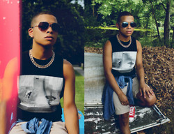 Ishmail Soto - H&M Aviator Sunglasses, Forever 21 Cross Earrings, H&M Gold Chain, Dc Shoes Cut Off Tank Top, Gap Denim Shirt, J. Crew Chino Shorts, Converse Sneaker - #OFFTOTHERACES