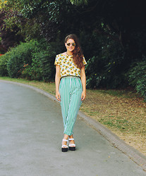 Helena L-C - Bird In A Cave Sunflower Crop Top, Charity Shop Green Striped Trousers, Schuh White Flatforms - Sunflowers & Stripes