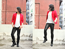 Philip Mak - Zara Blazer, H&M White Tee, All Saints Leather Pants, Hare Boots - Reddish Casual