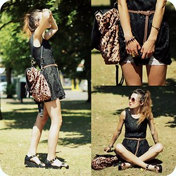 Agata P - Black Lace Dress, Leo Backpack, Sandals - Fell On Black Days