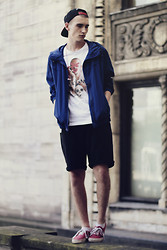 Romek Gelard Gello - H&M Blue Jacket, Xd T Shirt, Black Shorts, Vans Red - BURN
