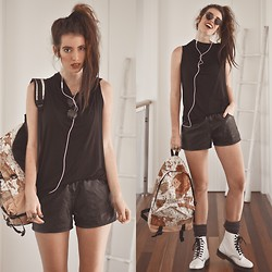 Elle-May Leckenby - Black Milk Clothing Drape Hooded Tank, 80s Purple Double Circle Shades, White Docs, Map Backpack, Black False Leather Shorts - Ok, I'm off to travel the world.