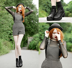 Olivia Emily - Romwe Hat, American Apparel Mesh Dress, Markethq Heart Print Dungarees, Oasap Booties - Little Hell.