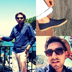 Umar Iqbal - Next Pumps, Zara Straw Hat, Urban Outfitters Wayfarers, Topman White Capri Pants, H&M Blue Shirt - Capri Summer Look