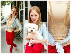 Lea L. - Forever 21 Faux Denim Blouse, Red Skinny Jeans, Belk Gold Three Strapped Sandals, Nude Tank, Aqua Beaded Necklace, Forever 21 Three Chained Gold Necklace, Thin Brown Belt - Pop of Red