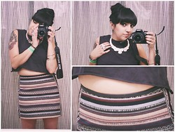 Felicia Renee - H&M Necklace, H&M Crop Top, H&M Pattern Skirt, Nasty Gal Phoenix Ring - Down Here You Can Be Anything You Want To Be