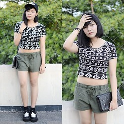 Marion Uy - Creepers, Aztec Crop Top, Army Lounge Shorts - Your opinion sucks