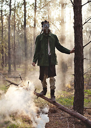 Austin Sullivan - Vintgae Wwii Army Jacket, French Connection Uk Skull Tee, Thrifted Brown Knit Cardigan, Gap Khaki Jeans, Steve Madden Leather Boots, Vintage Wwii Gas Mask - ☠ NAVY ☠